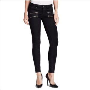 Paige • Black Edgemont Zipper Ultra Skinny Jeans